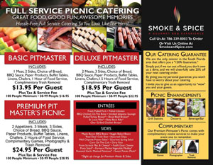 Casual Full Service Picnic Menu