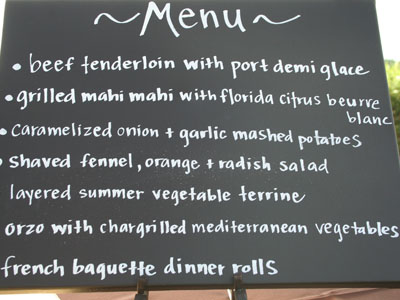 Wedding reception catering menu
