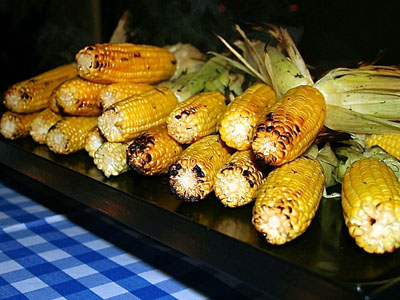 Gourmet Miami BBQ Caterer grills sweet corn, Homestead BBQ Catering, Gourmet BBQ Catering
